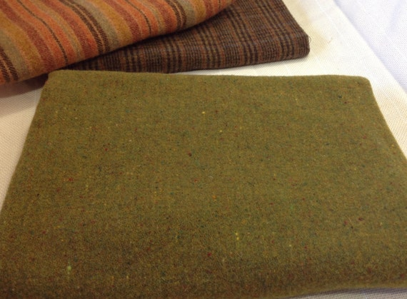 Bright Moss Green, Wool Fabric for Rug Hooking and Appliqué, 1 yard, 1/2 Yard or 1/4 Yard, W151, Olive Green, Mill Dyed Wool Fabric