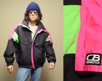vintage 80s 90s ski jacket puffer jacket neon pink green 1980 1990 CB Thermotech coat winter parka mens Xl extra large