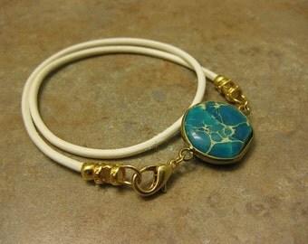 white leather bracelet, turquoise bracelet ,leather jewelry, wrap bracelet, turquoise charm