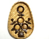 Cute Wicker Wall Hanging- Flowered- Camel and Dark Brown- Oval