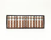 Vintage Tenkaichi Soroban Abacus, in original box, c1950 made in Japan, dark wood, fine craftsmanship