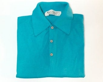 Vtg John Smedley Sea Island Cotton Polo Shirt in turquoise blue, Mens size Medium, Made in England