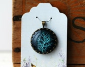 """Turquoise Tree with Black Background Vintage Inspired Brass and Glass Bubble Necklace (#25) - """"Rozie Series"""""""