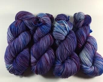 Light Worsted, DK, Superwash Merino, 100 grams, Hand Dyed Yarn, Top Secret Skyline, double knitting