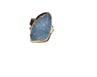 Blue stone ring, Natural Agate Druzy Geode ring, Gold plated druzy rings, adjustable, Agate Druzy Geode, Druzy Ring, Druzy Adjustable Ring