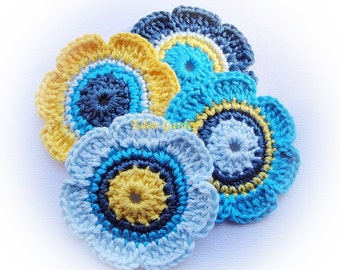 4 Sweet Crochet  Flowers