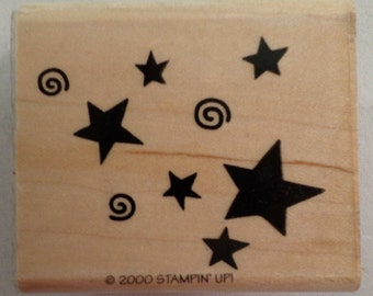 Stampin Up 2000 Starry Skies Star Cluster Wooden Rubber Stamp