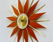 Starburst Clock, Mid century Modern Sunburst Wall Clock, Disassembles