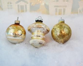 Gold Vintage Christmas Ornaments Tornado Top Teardrop Striped Shiny Brite Set of 3 Three 1950's