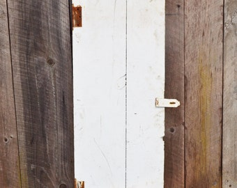 Vintage Small White Wooden Door Giant Letter Z Rustic Handmade Primitive Barn Shed Weathered Chippy Shabby Rusty Repurpose Upcycle Table