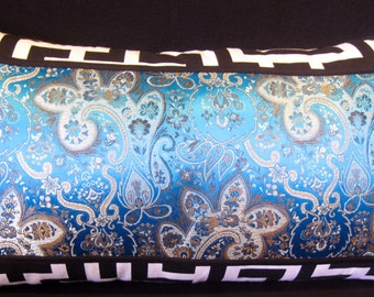 Turquoise teal blue black white pillow cover 12 X 21