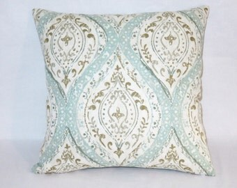 "Aqua Tan Medallion Pillow, Pale Blue Ogee Paisley, Distressed Look, 17"" Cotton Square, Ready To Ship,  Cover Only or Insert Included"