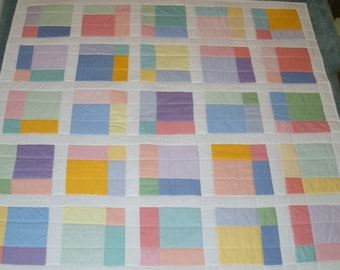 Pastel Lap Quilt/ Baby Quilt 42 x42 inches