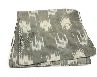 Japanese Antique Boro Textile. Double Sided Ikat Kasuri Cotton with Sashiko (Ref: 137)
