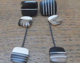 Asymmetric earrings/black and white/long dangle earrings/statement earrings/big earrings/resin earrings/mismatch earrings/monochrome design