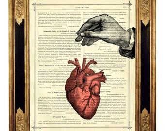Anatomical Heart Thread Hand - Vintage Victorian Book Page Art Print Steampunk Valentine's Day Love