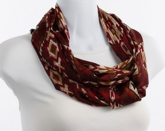 Native look Infinity Scarf - Aztec Design - Soft Smooth Cranberry, Rust, Black and Brown ~ SK223-L5