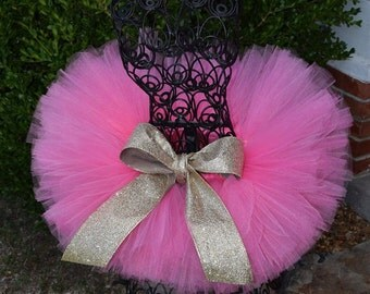 Shocking Pink tutu with gold glitter ribbon   TUTU ONLY  Great for Easter, Spring, Birthdays, Photography Prop, and Dance