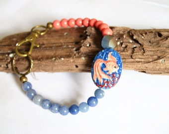 PEACH and BLUE CERAMIC Coyfish Blue Aventurine Coral Bead Clip Bracelet Artisan Crafted Ceramic Bead