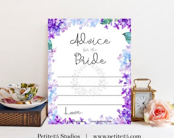 Advice for the Bride, Wedding bridal shower game, purple lavender, blue lilac hydrangea, instant download, printable