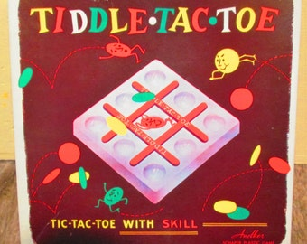 Vintage Game. 1955 Tiddle-Tac-Toe  Tiddly Winks Game.  Schapper Mfg. Co.  Y-190