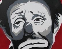 Sad Clown Art Painting - Emmett Kelly - Spraypaint On Canvas - Original