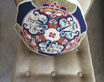 Handmade vintage cross stitched pillow