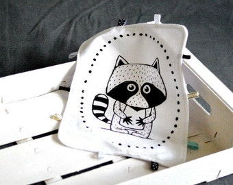 Lovey with raccoon Baby Taggy Taggie blanket Baby comforter Comfort blanket Sleep cloth  White black Scandinavian style Monochrome
