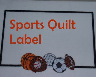 Embroidered Quilt Label Sports Theme