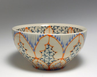 Small Wheel Thrown Handmade Ceramic Bowl with Orange, Sky Blue and Navy Pattern