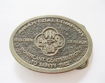 Amax Coal Company Belt Buckle Safety Western Division. Free shipping.  - FL