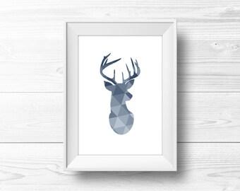 Deer Wall Art -- Deer Print, Geometric Deer Print, Deer Head Art, Blue Ombre, Scandinavian Art, Triangles, Printable, Instant Download