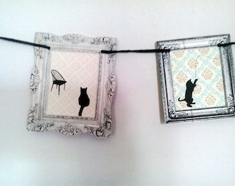 Garland, bunting, decoration, miniature gallery, Story of a Naughty Cat
