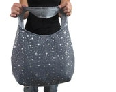 Purse in princess sparkle. Hobo bag with in black with silver stars. Choose cross body or shoulder and large or medium.