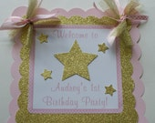Twinkle Twinkle Little Star Door Sign, Pink and Gold Twinkle Door Sign, Twinkle Little Star Birthday Decorations, Twinkle Party (TWIN-1)