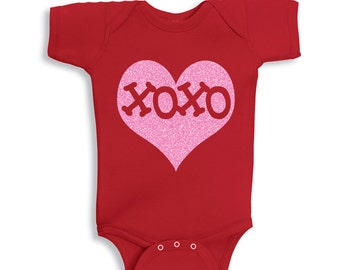 XOXO Inside Pink Glitter Heart Red Shirt for Kids