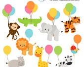 Safari Animals with Balloons Clipart Set - giraffe, monkey, zebra, tiger, balloons - personal use, small commercial use, instant download