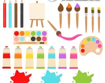 Painting Clipart Set - clip art set of paints, art set, easel, brushes - personal use, small commercial use, instant download