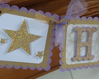 Twinkle Twinkle Little Star Banner, Gold glitter lavender twinkle twinkle little star birthday banner, 1st birthday glittler banner, glitter