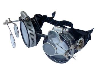 Victorian Steampunk goggles aviator victorian welding biker eye cup--bbb clear2