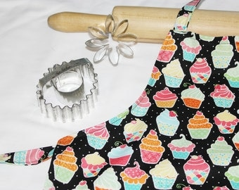 Cupcakes and Polka Dots on Black Child Apron