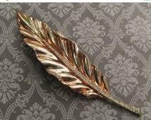 ON SALE Antique Trifari Sterling Silver Vermeil Rhinestones Leaf Fur Clip Brooch Antique Pin Jewelry