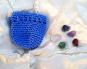 Healing Chakra stones set of five with blue crochet drawstring coin dice bag pouch purse sack