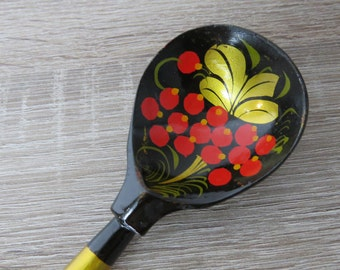 "Hand painted Wooden Spoon ""Khokhloma"", Russian Lacquered        BVox P"