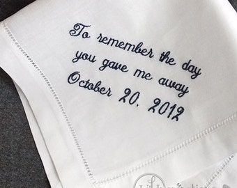Father of the Bride Handkerchief Personalized |  Dad Wedding Handkerchief | Father of the Bride Gift