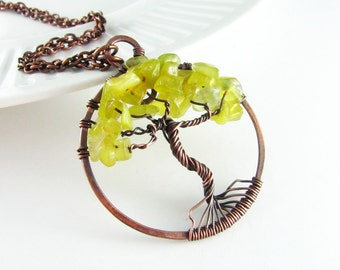 Wire Wrap Pendant Jade Necklace Tree Of Life Necklace Wire Wrapped Jewelry Copper Jewelry Tree Necklace Copper Necklace Tree of Life Pendant