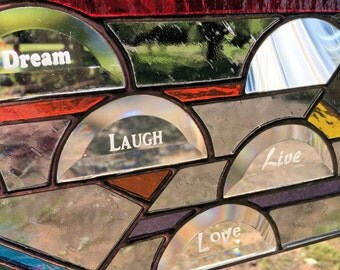 Stained Glass Panel Window - Sandblasted Dream Love Laugh Live (PLG054)