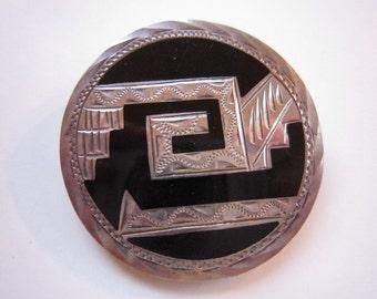 925 Silver Black Onyx Round Brooch