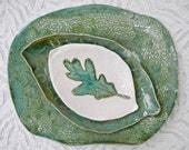 Teal Green Serving Set, ceramic platter set, Snack Set, Lace pottery Platter, Leaf Plate, Pottery Platter, Serving platter, Stamped Pottery