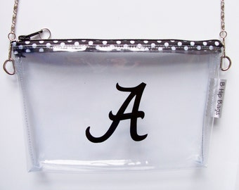 Alabama Clear Convertible Vinyl Monogram Clutch Polka Dot Zipper Chain Cross Body/Wristlet/PGA Tour Purse/Pouch/Bag/Wallet/Phone Holder
